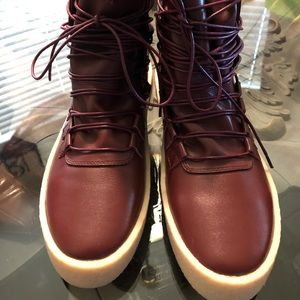 """FORBIDDEN"" burgundy leather lace up boots"